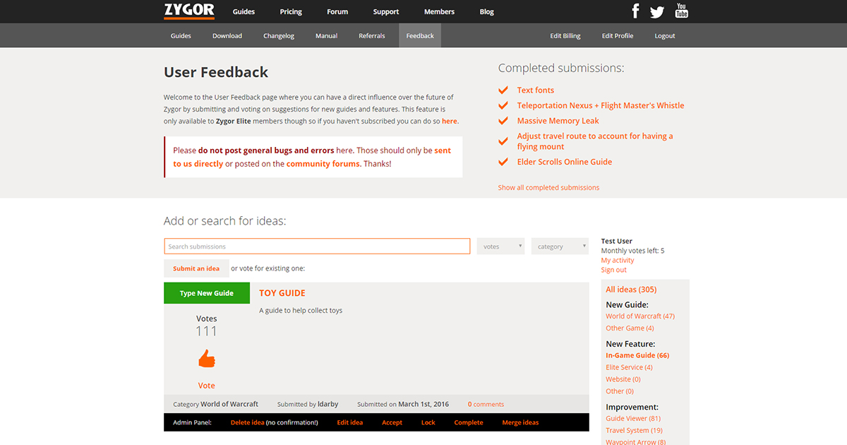 User Feedback Page